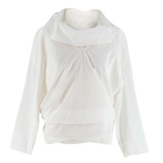 Loewe Button Back Asymmetric White Blouse