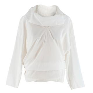 Loewe Button Back Asymmetric White Blouse