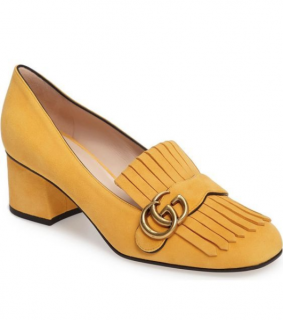 Gucci Yellow Suede Marmont Mid-Heel Pumps