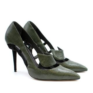 Manolo Blahnik Green Embossed Snakeskin Cut-Out Pumps