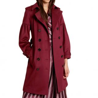 Burberry Burgundy Wool Trench Coat