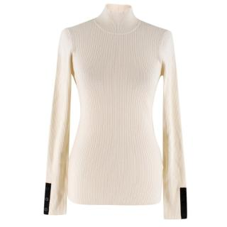 Frame Cream Ribbed Turtleneck With Constrast Stripe