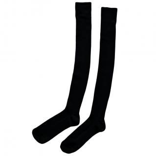 Celine Ribbed Stretch Wool OTK Socks