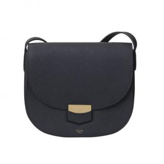 Celine Black Grained Calfskin Compact Trotteur Bag
