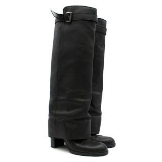 Chanel Black Leather Knee-High Sheath Boots