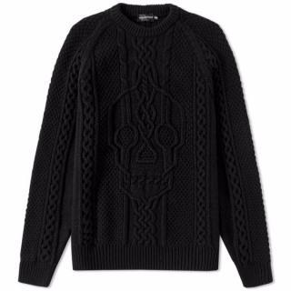 Alexander McQueen Black Cable Knit Skull Jumper
