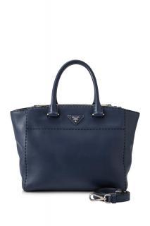 Prada Caflskin Topstitch Smooth Leather Satchel