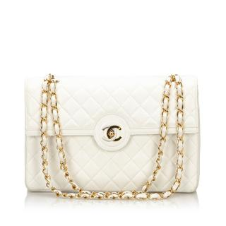 Chanel CC Lambskin Double Flap Shoulder Bag