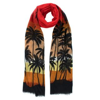 Saint Laurent Palm Tree Print Scarf