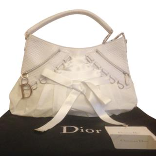 Dior white exotic python leather and satin corset ballet shoulder bag