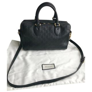 Gucci black leather Guccissima Bowling Bag