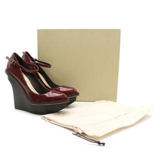 Stella McCartney Red Patent Leather Platform Wedges