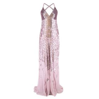 Temperley London StarletLilac Sequin-embellished Chiffon Gown