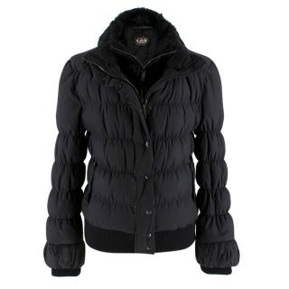 Fendi Black Puffer Jacket w/ Goat Fur Trim