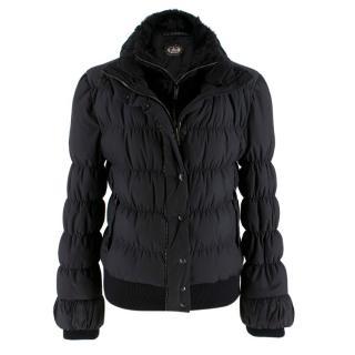 Fendi Black Puffer Jacket w/ Goat Fur Trim