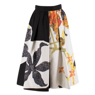 Prada Floral Faille Silk Midi Skirt