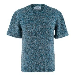 Prada Blue Braided Knit Short Sleeve Jumper