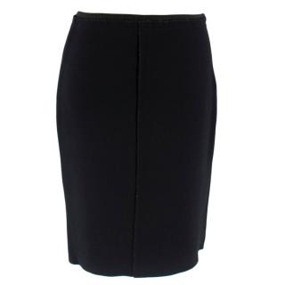 Prada Black Skirt Stretch Knit Skirt