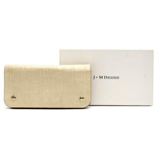 J&M Davidson Cream Croc Embossed Wallet