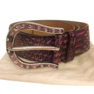Prada Purple Python Embellished Belt