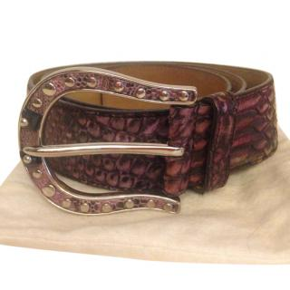 Prada Purple Python Embellished Belt