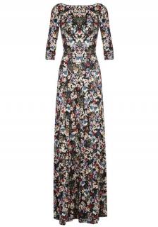 Erdem Silk Jersey Floral Print Bateau Maxi Dress
