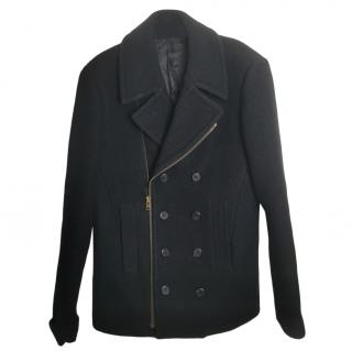Givenchy black men's tweed wool coat
