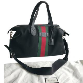 Gucci black webstripe canvas boston bag
