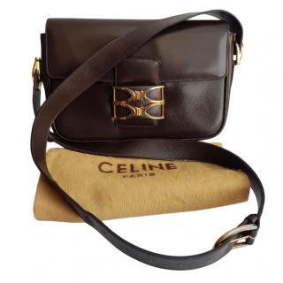Celine Brown Box Leather Vintage Shoulder Bag