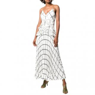 Self-Portrait Checked Pleated Long Dress