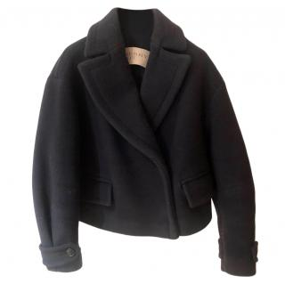 Burberry Virgin Wool Blend Navy Short Jacket