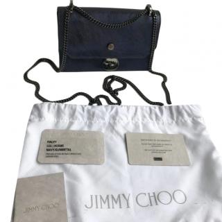 Jimmy Choo Metallic Navy FInley Mini Bag