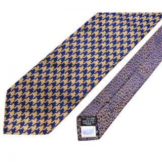 Roberto Cavalli Houndstooth Leopard Print Tie