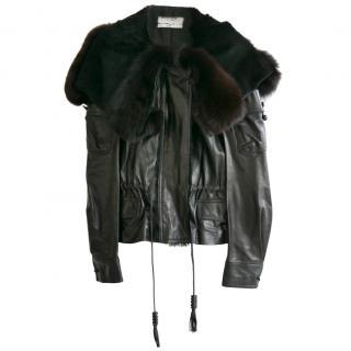 Yves Saint Laurent Black Vintage Fur Trim Jacket