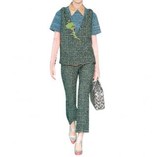 Prada Runway Green Tweed Sleeveless Top & Trousers
