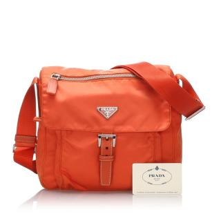 Prada Orange Tessuto Crossbody Bag