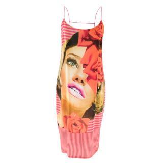 Richard Nicoll Pink Face Print Striped Dress