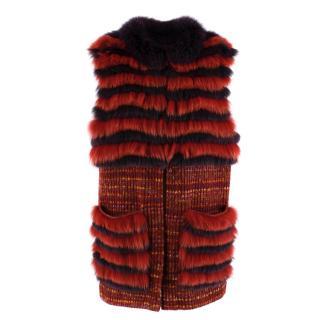 La Rena Multicoloured Tweed Knit and Fur Gilet