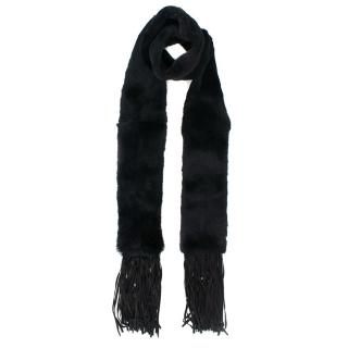 Enes Black Rabbit Fur Scarf