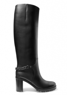 Christian Louboutin Napoleo 70 chain-trimmed leather knee boots