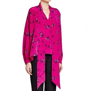 Balenciaga Pink Silk Printed Blouse