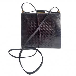 Bottega Veneta Black Lizard Intreciatto Leather Shoulder Bag