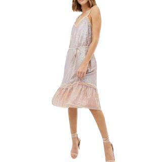 Needle & Thread Sequin Embellished Tie Waist Cami Midi Pink Dress