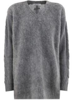 MaxMara Grey Piera Wool and Cashmere V Neck Sweater