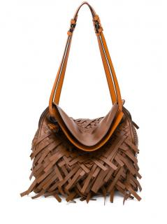 Bottega Veneta Dark Leather Intrecciato Fringe Tote