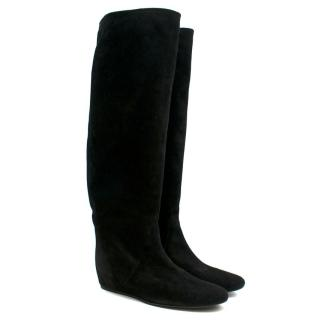 Lanvin Black Suede Wedge Knee Boots