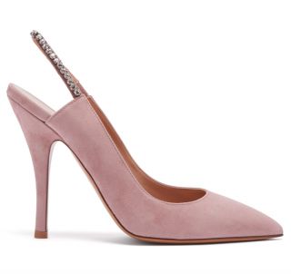 Valentino Pink Crystal Embellished Slingback Suede Court Shoes