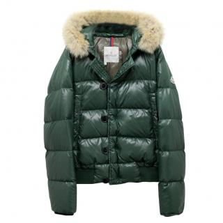 Moncler Green Fur Trim Down Jacket