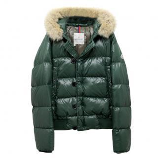Moncler Green Fur Trim Down Jacket