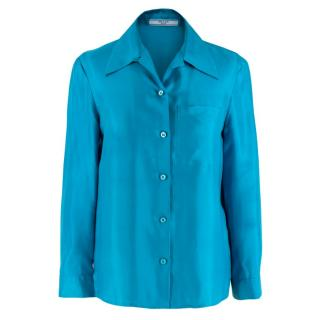 Prada Blue Lightweight Satin Blouse